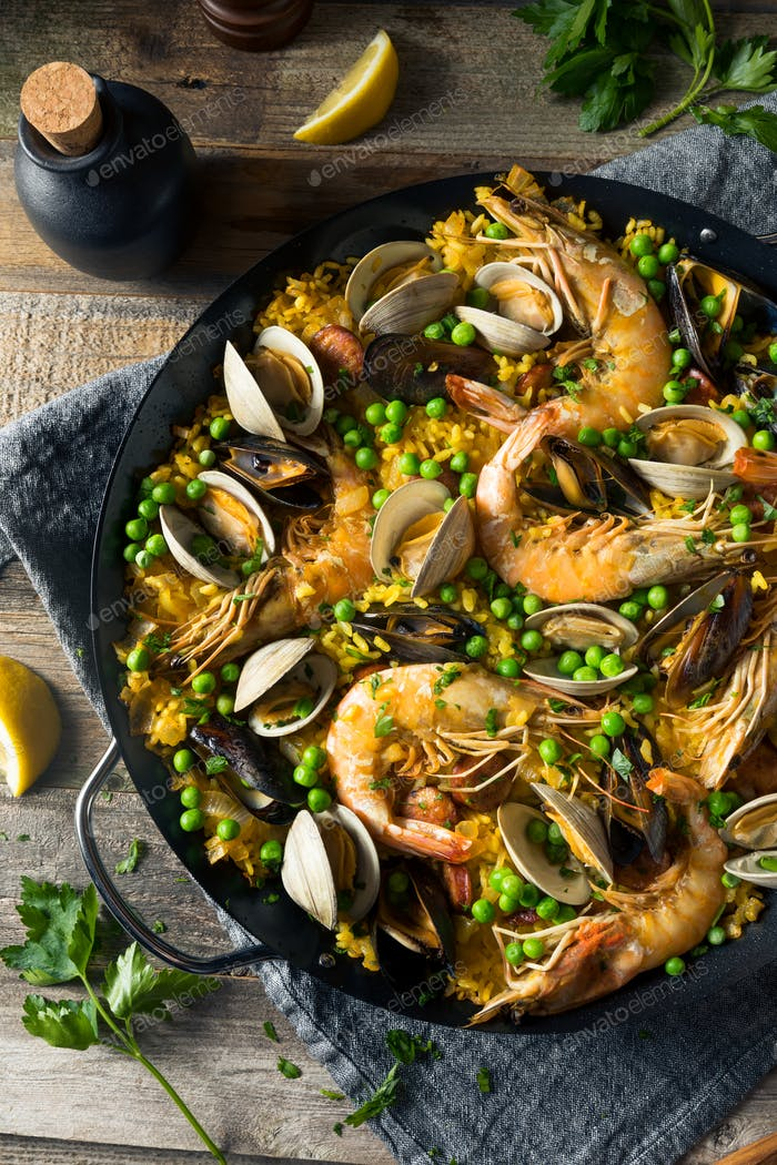 Homemade Spanish Seafood Paella