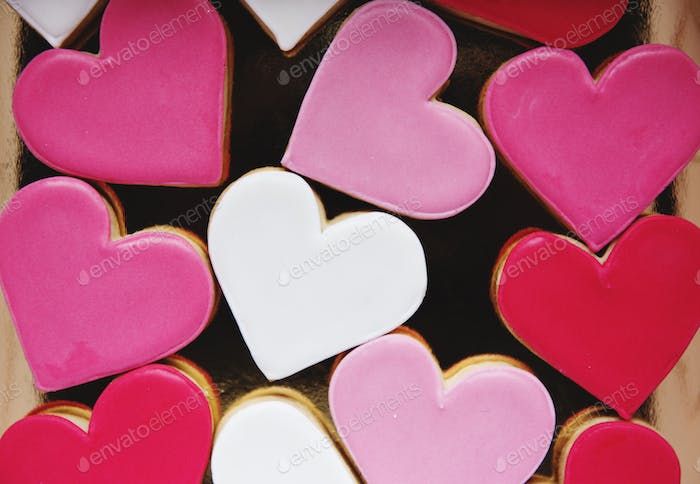 Colorful Cookie Hearts Shape Decorative Love Smitten Valentine