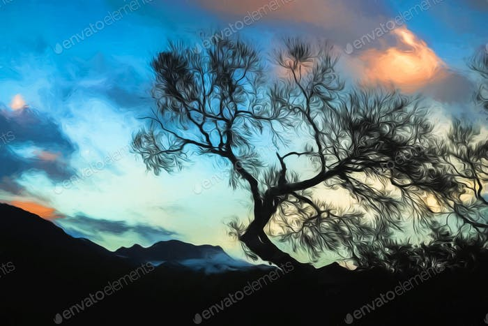 Leafless tree with the cloudy background