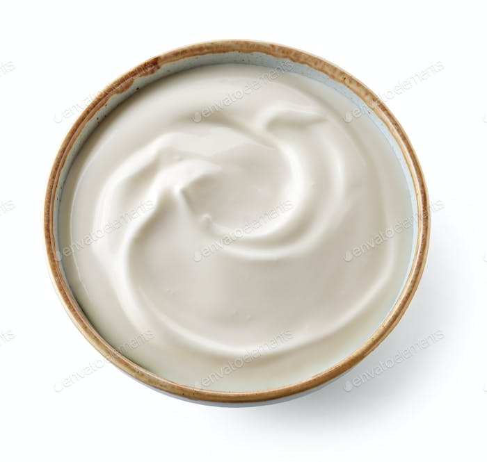 bowl of whipped yogurt cream