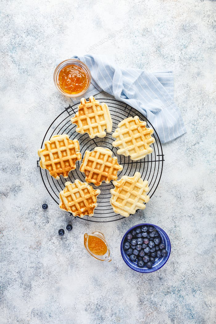 Home made Belgian waffles served with berries