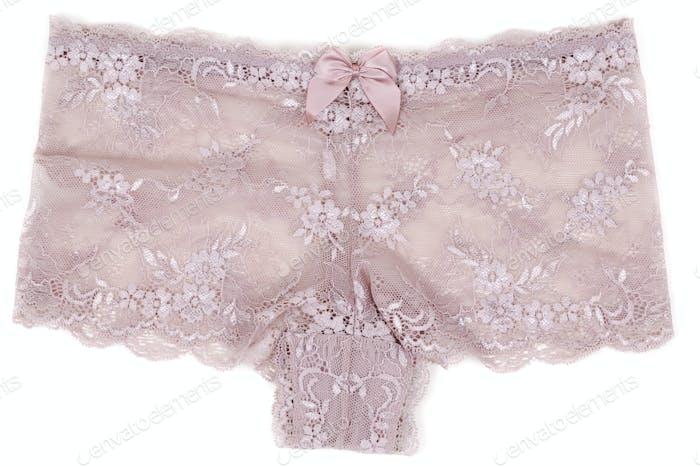 female beige lace panties