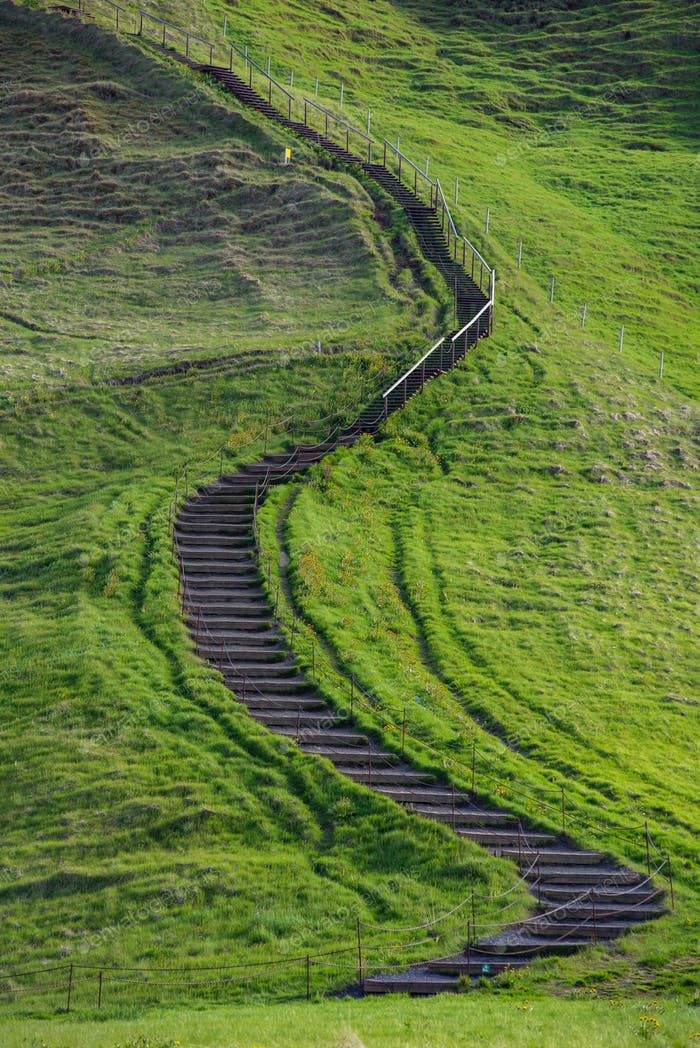 Small path leading up a green hill in Iceland