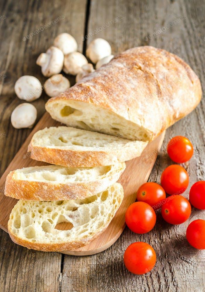 Ciabatta with mushrooms and cherry tomatoes