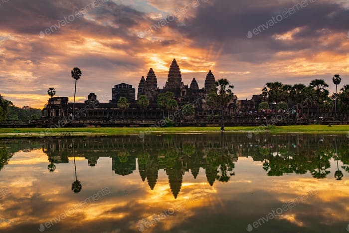 Sunrise on Angkor Wat Temple in Cambodia.
