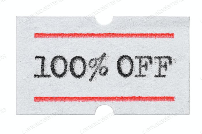 100 % OFF Sale printed on price tag sticker isolated on white
