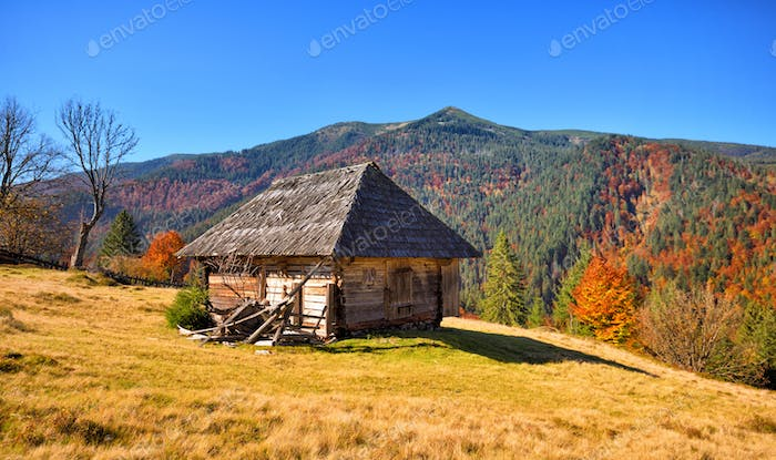 Beautiful landscape with old wooden hut in the Carpathians mount