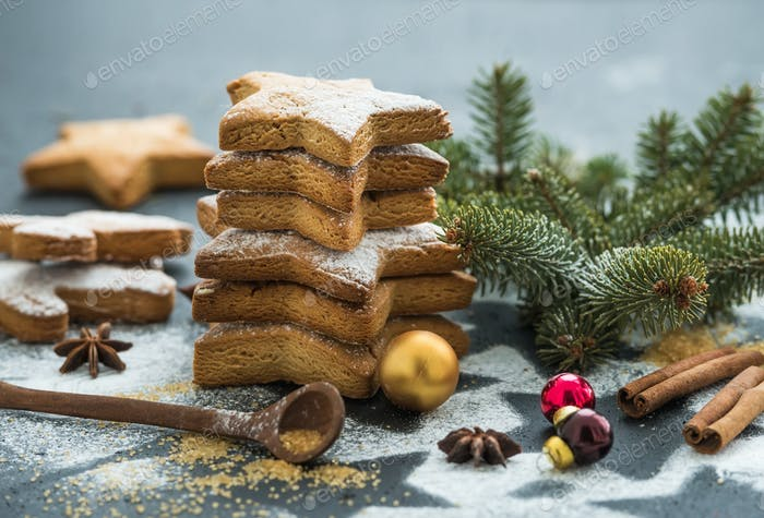 Cooked Christmas holiday traditional gingerbread cookies