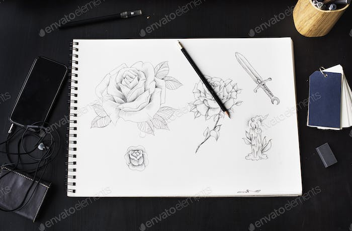 Aerial view of drawing roses artwork