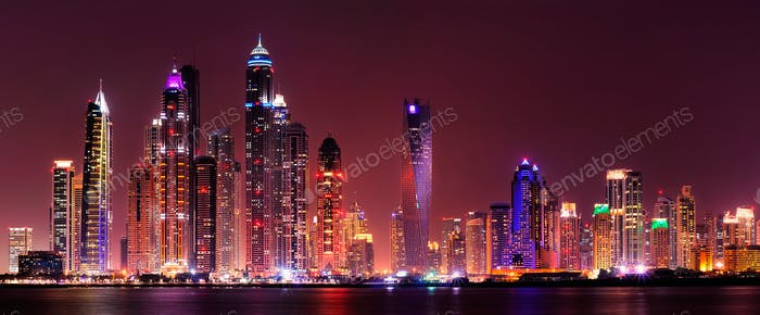 Amazing night panorama of Dubai Marina. United Arab Emirates