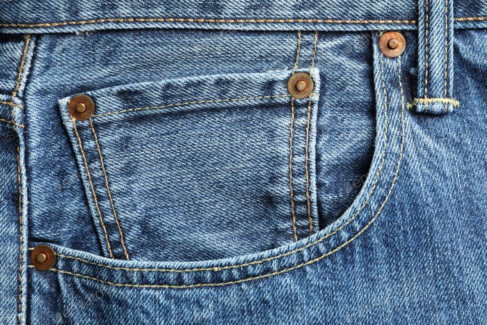 Classic jeans textured background, close up