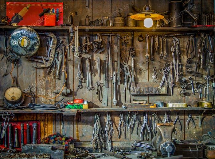 Vintage Workshop Tools Background