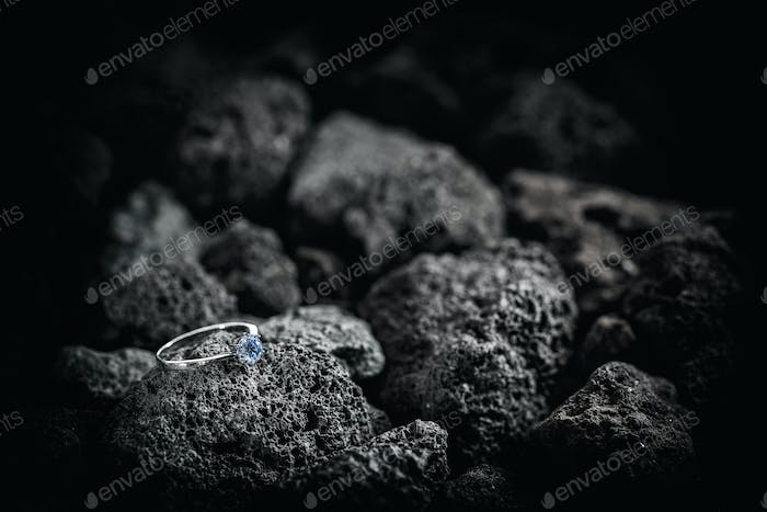 Silver ring with crystals