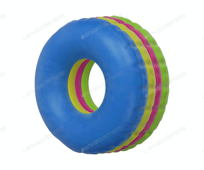 Group of colorful swim ring isolated on white