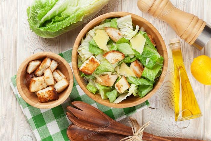 Fresh healthy caesar salad cooking