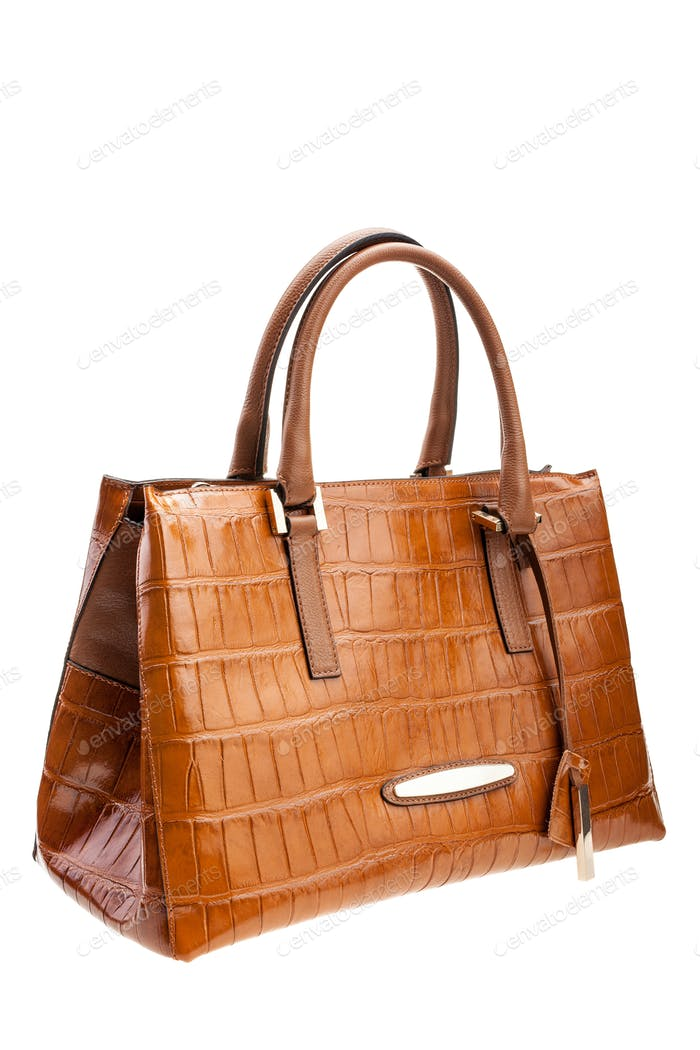 Brown leather womens bag isolated on white background.