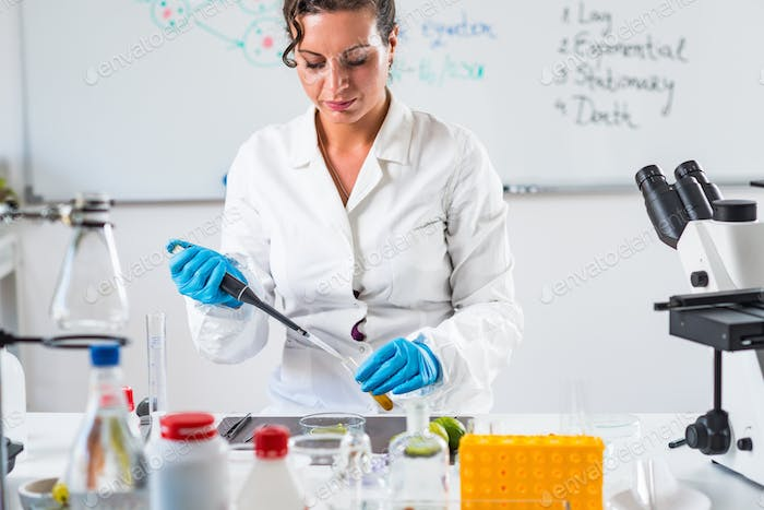 Food safety inspector working in a lab