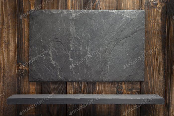 wooden shelf at background