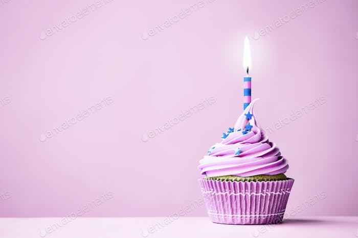 Purple birthday cupcake