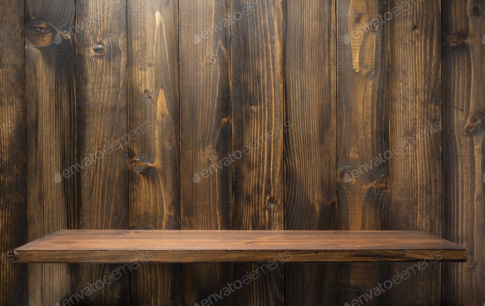 wooden shelf at background