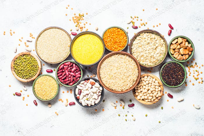 Grains, Legumes, and beans assortment top view.