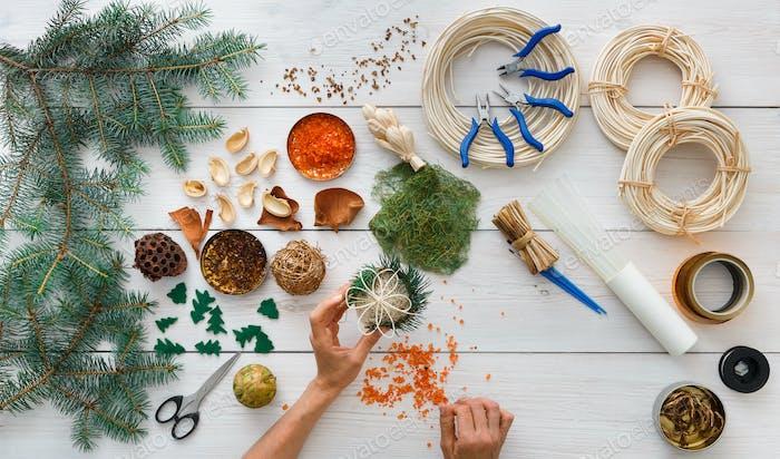 Thumbnail for Creative diy hobby. Handmade craft christmas decoration, balls and garland