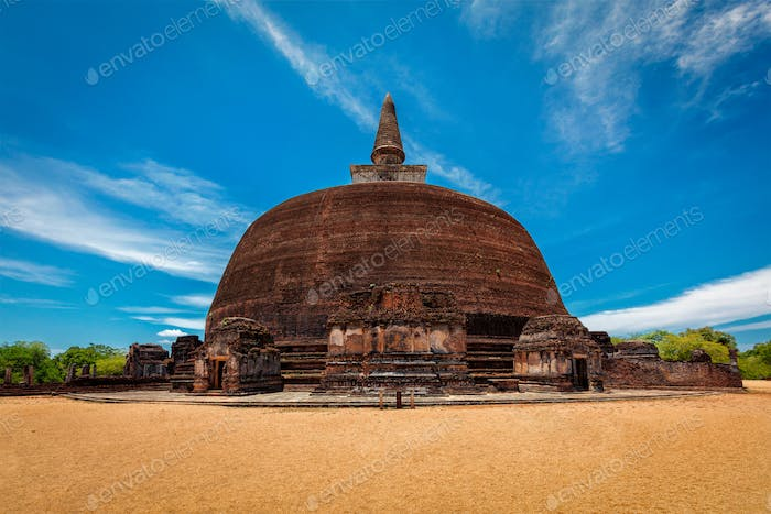 Buddhist dagoba, stupa in ancient city of Pollonaruwa