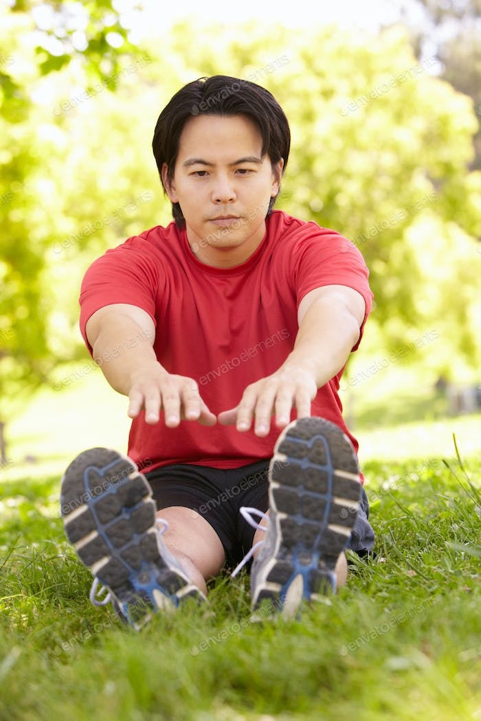Asian man exercising