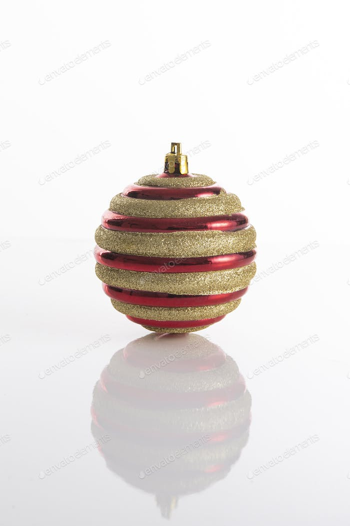 Red with glitter lines ornament for Christmas tree decoration