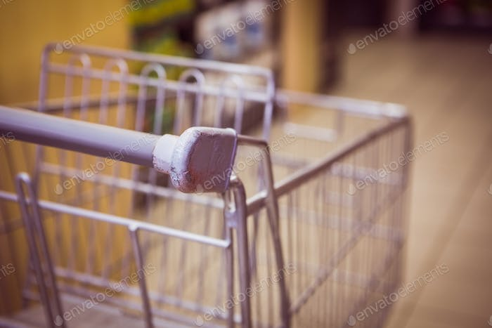 Trolley with product on shelf in supermarket