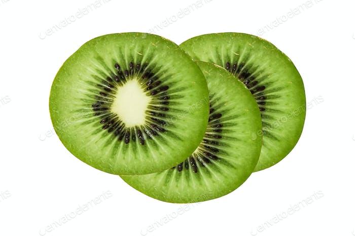 slices of juicy kiwi isolated on white