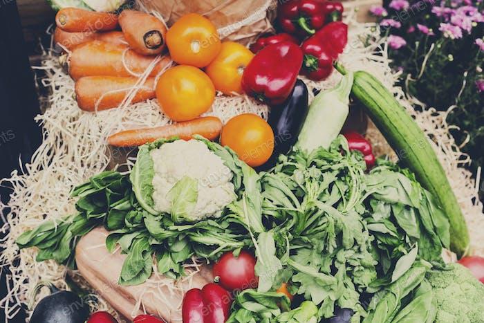 Organic farmers food market place, vegetables