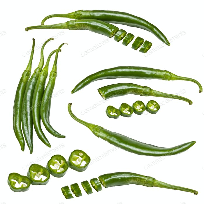 Collection of green peppers