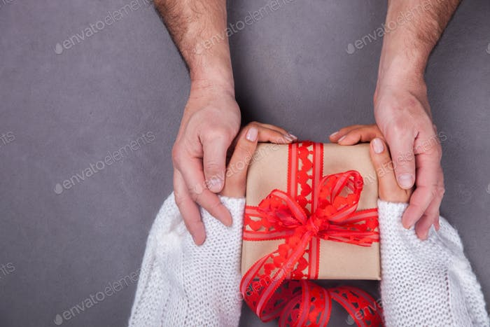 Holiday gift Valentine's Day. Concept of Love,Happiness ,Romance