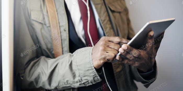 Businessman Digital Tablet Connection Networking Concept