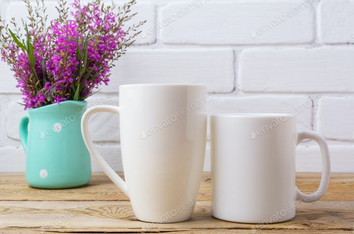 Two white coffee and cappuccino mug mockup with maroon purple fl