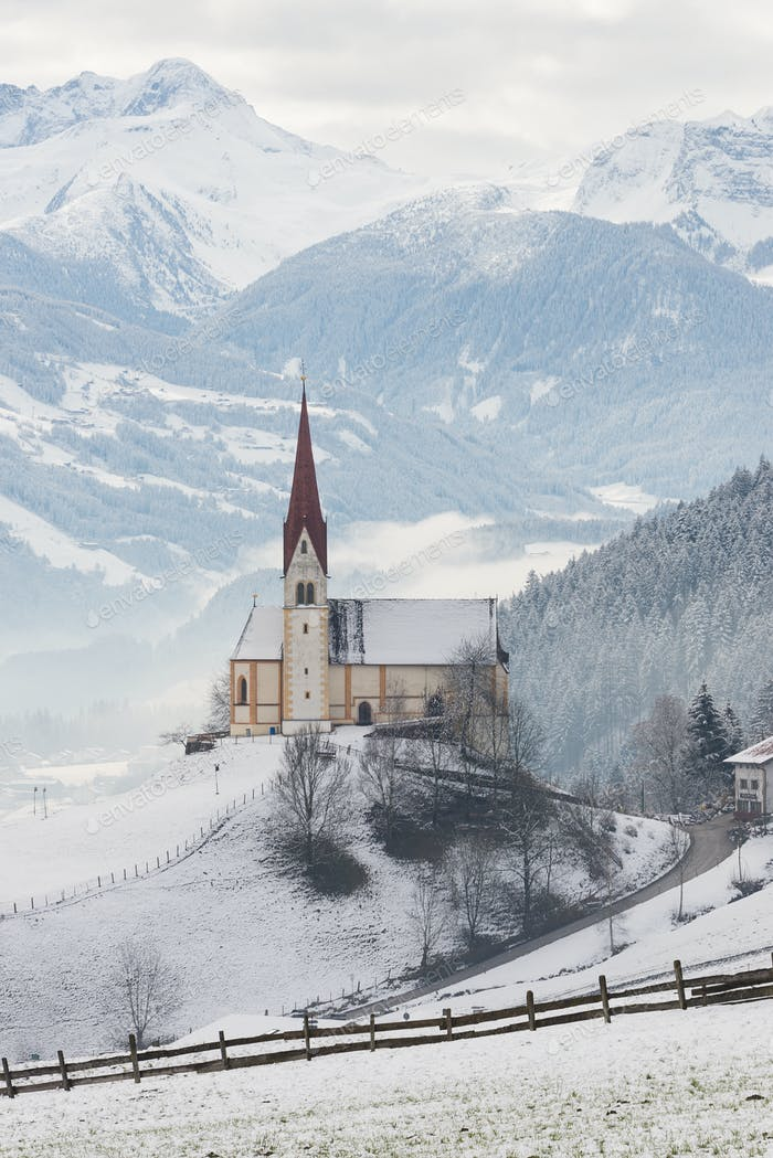Church in the snow in Austria