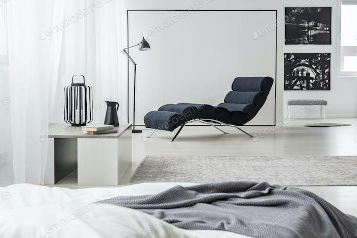 Black and white bedroom interior