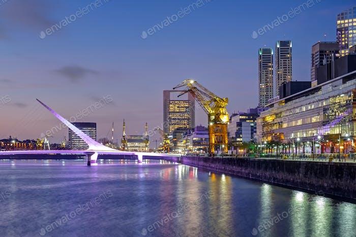 Puerto Madero and the Puente de la mujer in Buenos Aires