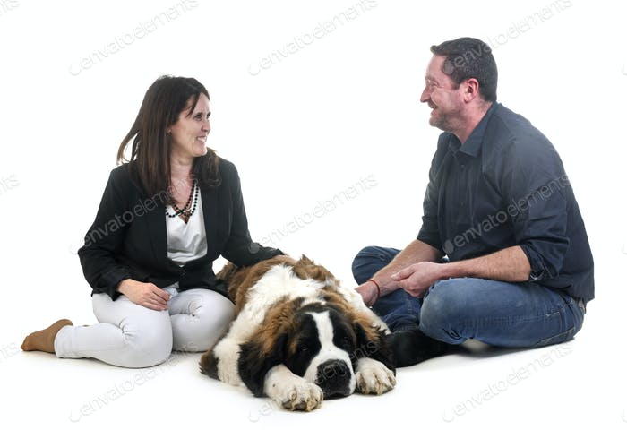 young saint bernard and owners