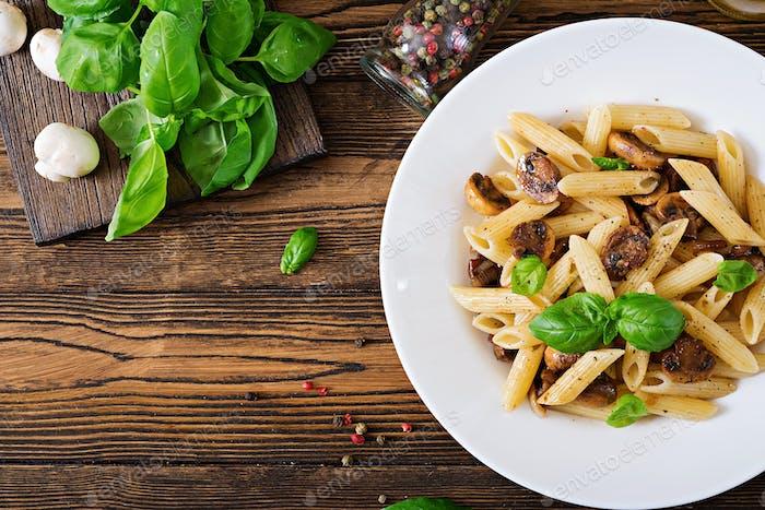 Vegetarian Vegetable pasta penne  with mushrooms