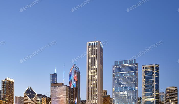 Picture of Chicago downtown skyline at twilight, USA
