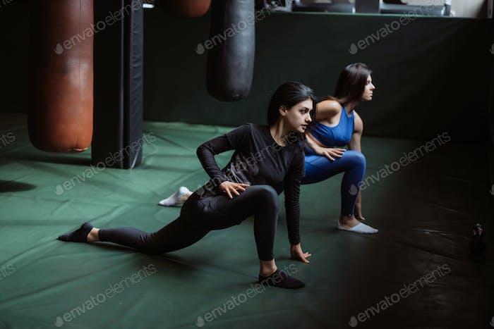 Две красивые молодые девушки занимаются фитнесом в тренажерном зале. Растягивание мышц спины и ног