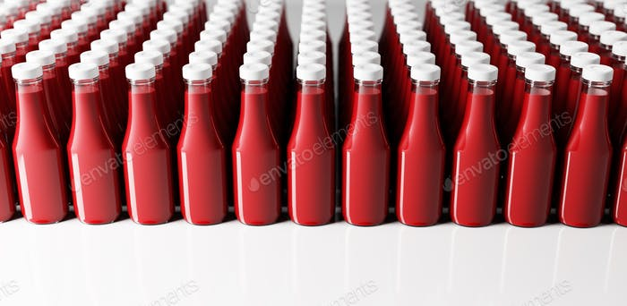 Ketchup bottles in a row