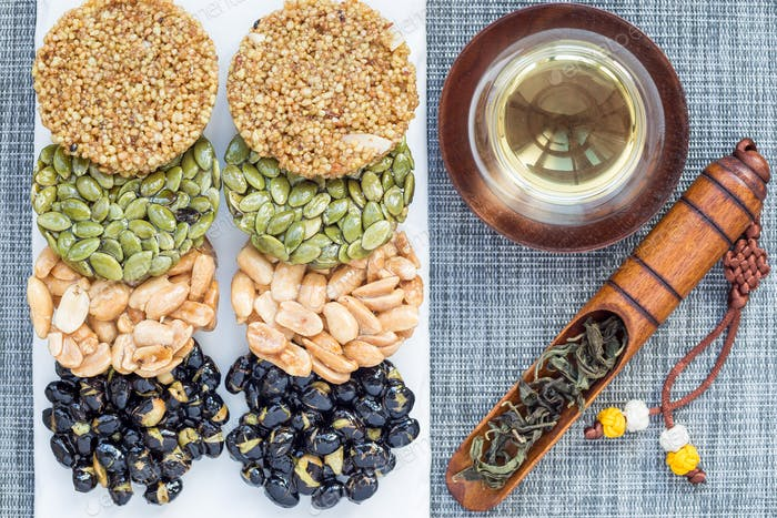 Korean traditional sweet snacks. Healthy energy snacks. Top view, horizontal