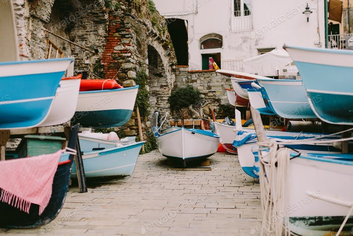 wooden boats parking harbour in Cinque Terre