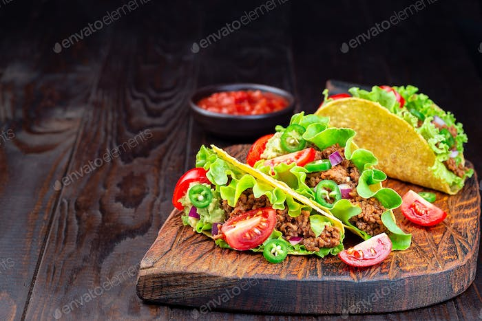 Taco with ground beef meat, horizontal, copy space