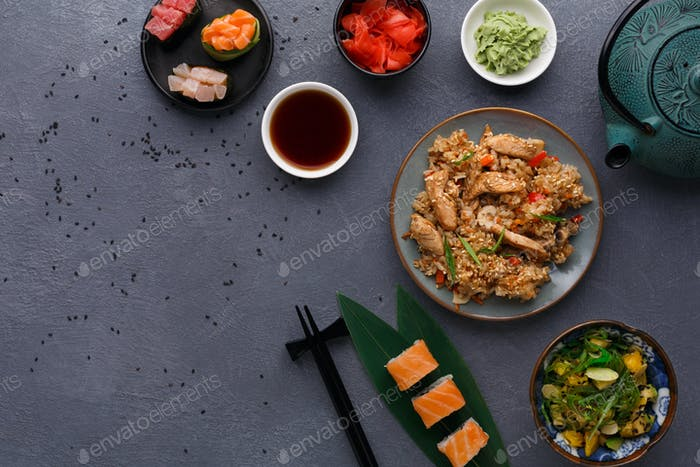 Served table with asian food