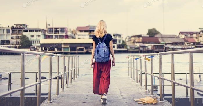 Woman Caucasian Traveler Explore River Dock Concept