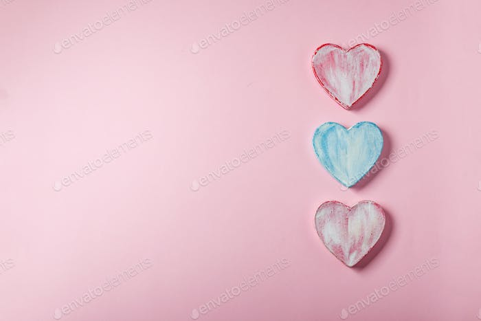 Valentine hearts made of paper mache. Symbol of love and holiday Valentine's Day.
